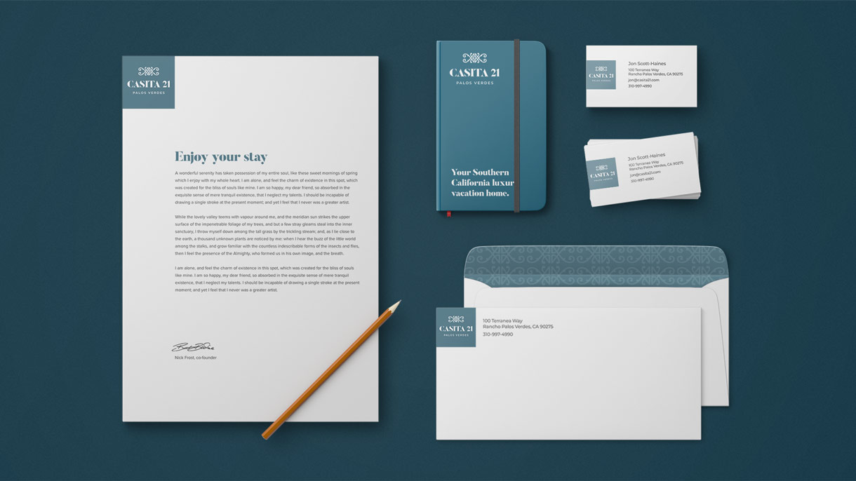 Casita 21 Identity Design stationery items