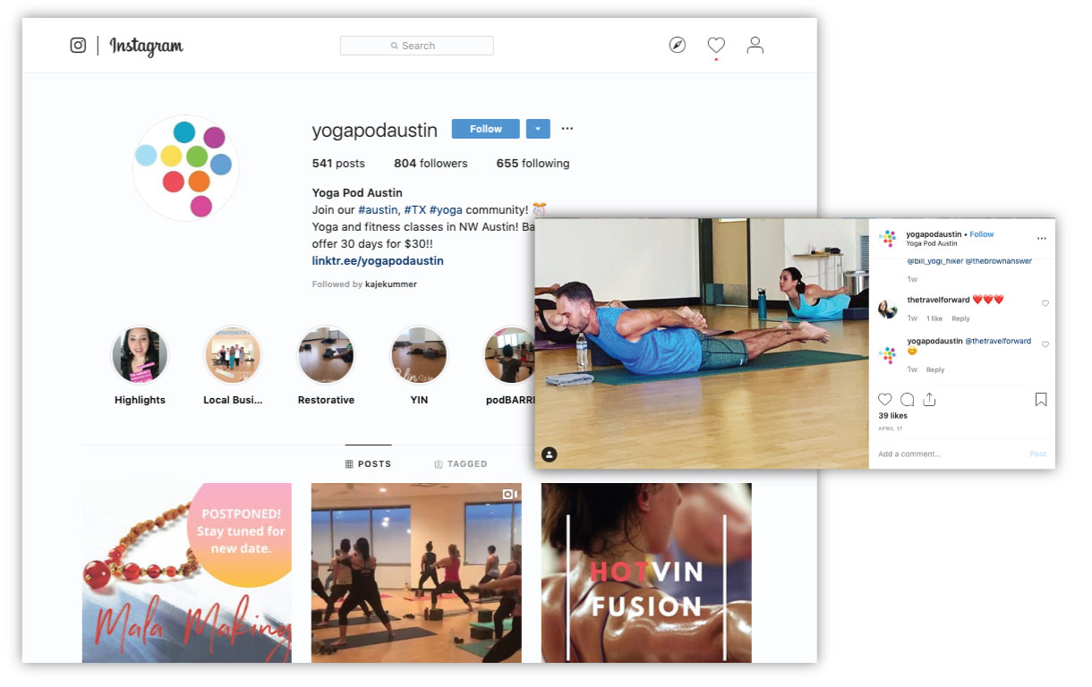 Screenshot of Yoga Pod Austin's Instagram profile and a photo on Instagram with comments